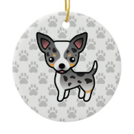 Chihuahua Blue Merle Smooth Coat Christmas Ornaments