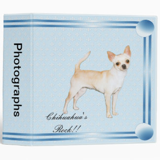Chihuahua ~ Blue w/ White Diamonds Design 3 Ring Binder