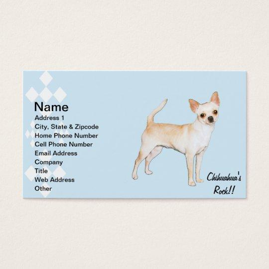 Chihuahua ~ Blue w/ White Diamonds Design Business Card