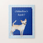 Chihuahua ~ Blue w/ White Diamonds Design Jigsaw Puzzles