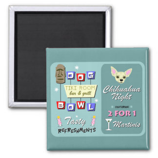 Chihuahua Bowling Tiki Night 2 Inch Square Magnet