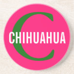 Chihuahua Breed Monogram Design Drink Coaster