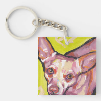 Chihuahua Bright Colorful Pop Dog Art Double-Sided Square Acrylic Keychain