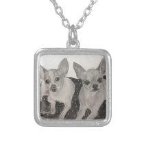 Chihuahua buddies original artwork by Carol Zeock Silver Plated Necklace