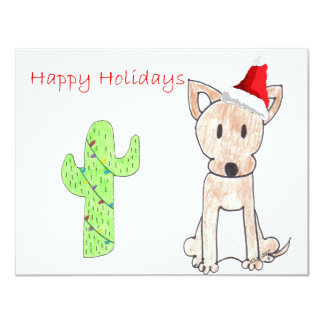 Chihuahua Cactus Christmas 4.25x5.5 Paper Invitation Card