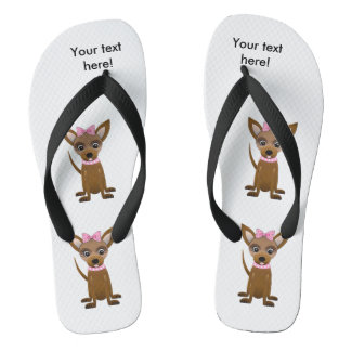 Chihuahua cartoon flip flops