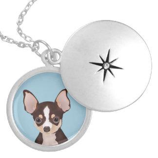 Chihuahua cartoon round locket necklace