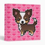 Chihuahua Chocolate Tricolor Long Coat Love Hearts Binders