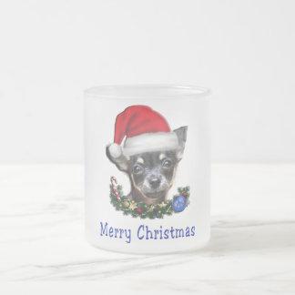 Chihuahua christmas gifts frosted glass coffee mug