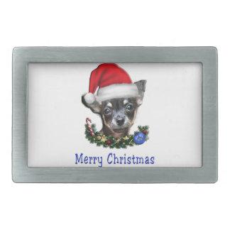 Chihuahua christmas gifts rectangular belt buckle