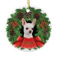 Chihuahua Christmas Holiday Wreath Christmas Tree Ornaments