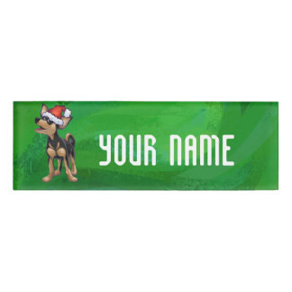 Chihuahua Christmas On Green Name Tag