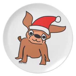 Chihuahua Christmas Plate