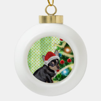 Chihuahua Christmas Santa AngelPearl Ornament