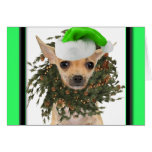 Chihuahua Christmas Wreath & Hat Greeting Cards