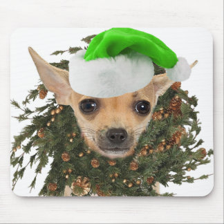 Chihuahua Christmas Wreath & Hat Mouse Pad