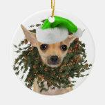 Chihuahua Christmas Wreath & Hat Christmas Ornament