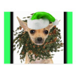 Chihuahua Christmas Wreath & Hat Post Cards