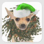 Chihuahua Christmas Wreath & Hat Square Sticker