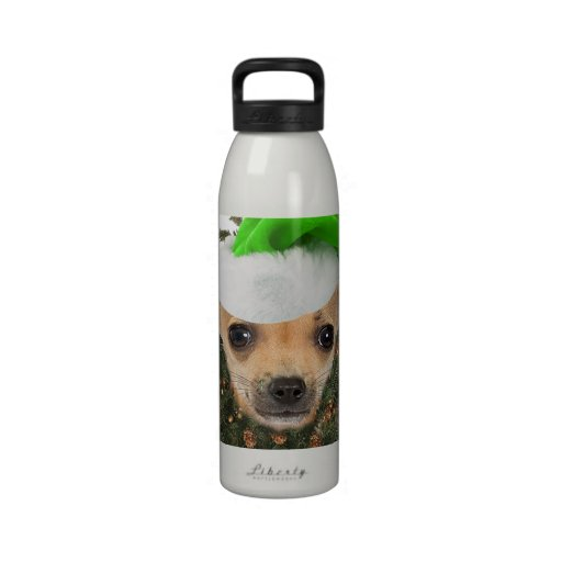 Chihuahua Christmas Wreath & Hat Reusable Water Bottles