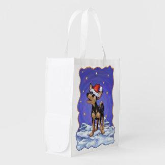 Chihuahua Christmas Reusable Grocery Bag