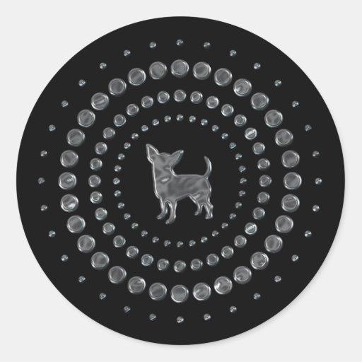 Chihuahua Chrome Studs Round Stickers