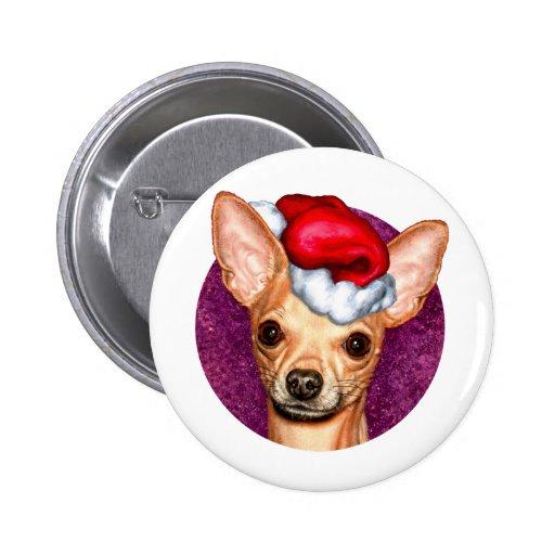 Chihuahua Claus Pin Redondo 5 Cm