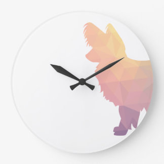Chihuahua Colorful Geometric Pattern Silhouette Large Clock