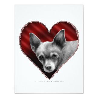 """Chihuahua con el corazón invitación 4.25"""" x 5.5"""""""