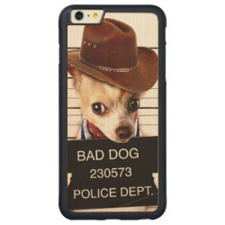 Carved iPhone 6 Plus Slim Wood Case with Chihuahua Phone Cases design