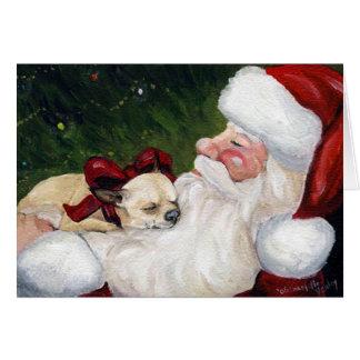 """""""Chihuahua Cozy Christmas"""" Dog Art Greeting Card"""