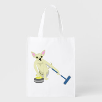 Chihuahua Curling Grocery Bags