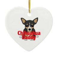 Chihuahua Daddy Black Tan Christmas Ornaments