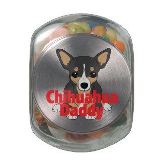 Chihuahua Daddy Black Tan Glass Candy Jar