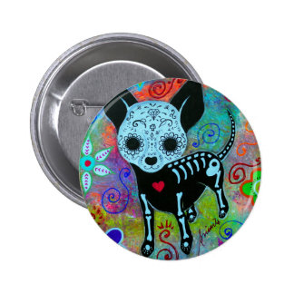 CHIHUAHUA DAY OF THE DEAD PERRO PINBACK BUTTON