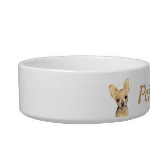 Chihuahua de encargo del nombre y de la foto, masc tazones para agua para gatos