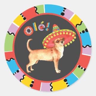 Chihuahua de la fiesta pegatina redonda