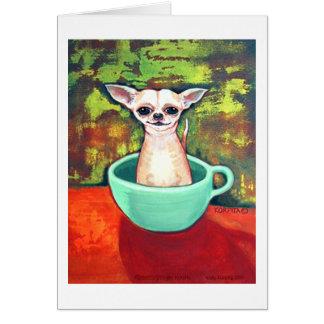 Chihuahua de la taza de té de Jadite Fireking Tarjeton