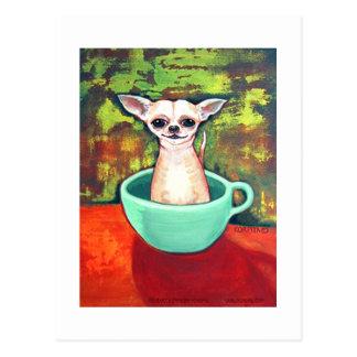 Chihuahua de la taza de té de Jadite Fireking Postales