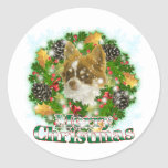 Chihuahua de las Felices Navidad Etiqueta Redonda