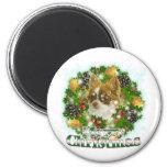 Chihuahua de las Felices Navidad Imán De Frigorifico