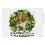 Chihuahua de las Felices Navidad Tarjetón