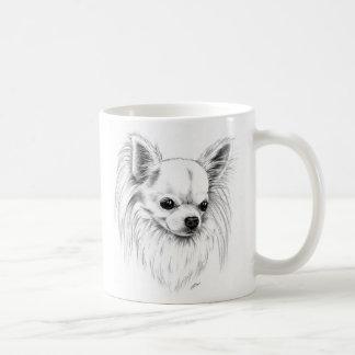 Chihuahua de Longcoat Taza Básica Blanca