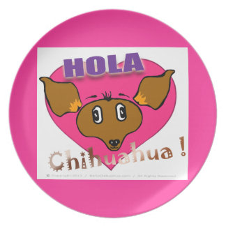 "Chihuahua de Oficial ""Hola!"" Platón de comida Plato De Comida"
