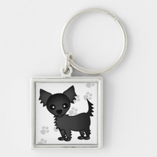 Chihuahua de pelo largo del negro lindo del dibujo llavero cuadrado plateado