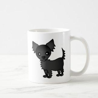 Chihuahua de pelo largo del negro lindo del dibujo taza