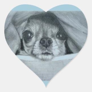 Chihuahua debajo de las ilustraciones originales calcomania corazon