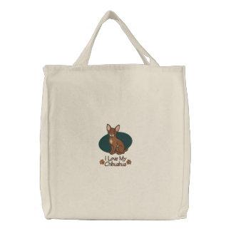 Chihuahua del amor bolsa bordada