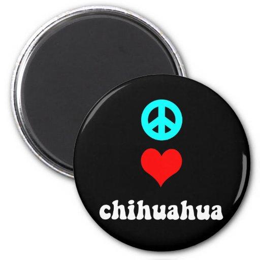 Chihuahua del amor de la paz imán redondo 5 cm