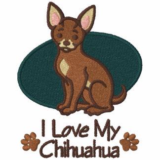 Chihuahua del amor sudadera bordada con cremallera de mujer
